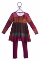 Love U Lots Girls Striped Tunic with Leggings in Cranberry