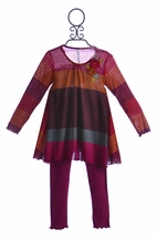 Love U Lots Girls Striped Tunic with Leggings in Cranberry (Size 6)