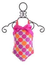 Love U Lots Girls Swimsuit in Polka Dot Pink (Size 2T)