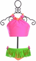 Love U Lots Hula Bikini for Girls (2T,3T,6X)
