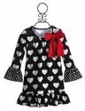 Love U Lots Little Girls Dress in Heart Print
