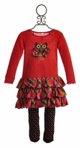 Love U Lots Little Girls Owl Dress with Tights (Size 4)