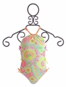 Love U Lots One Piece Swimsuit for Girls Braided Straps and Bows