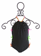 Love U Lots Polka Dot Swimsuit for Girls with Neon Bows