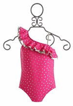 Love U Lots Pretty Girls Swimsuit Fuchsia (Size 2T)
