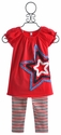 Love U Lots Star Spangled Red Peasant Tunic Set