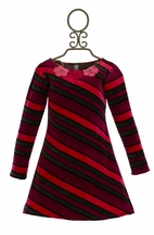 Love U Lots Velour Striped Dress for Girls Fuchsia
