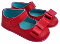 Luv Choo Red Infant Shoes with Beatrice Bow