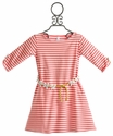 Luv U Lots Coral Stripe Girls Dress with Daisy Chain