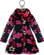 Mack and Co Coat for Girls with Flowers in Pink and Black