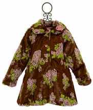 Mack and Co Faux Fur Winter Coat in Brown Floral