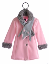 Mack and Co Fleece and Faux Fur Coat for Girls Pink Fox (Size 4T)