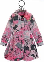 Mack and Co Floral Coat for Girls in Pink and Gray (Size 6X)