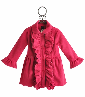 Mack and Co Fuchsia Ruffle Girls Winter Coat
