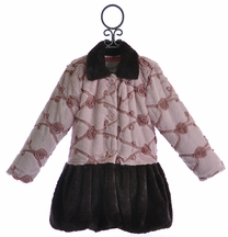 Mack and Co Girls Faux Fur Winter Coat Dusty Rosette