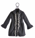 Mack and Co Girls Fleece Ruffle Coat Classy Charcoal