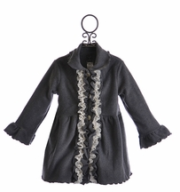 Mack and Co Girls Fleece Ruffle Coat Classy Charcoal (5,6,6X,8)