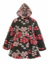 Mack and Co Girls Hooded Coat in Gray Floral (2T, 3T, 4T,5)