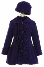 Mack and Co Girls Purple Ruffle Coat and Hat