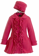 Mack and Co Hot Pink Fleece Coat and Hat for Girls
