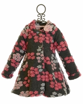 Mack and Co Little Girls Coat in Charcoal Floral (2T,3T,4)