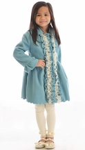 Mack and Co Ruffle Fleece Coat for Girls in Blue (2T & 4)