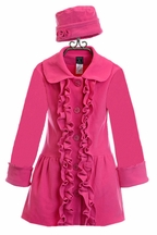 Mack and Co Ruffle Fleece Coat for Girls in Hot Pink (Size 2T)