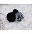 Made to Match Black Rosettes and Lace Headband