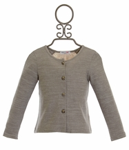 Mae Li Rose Cardigan with Lace Back in Gray