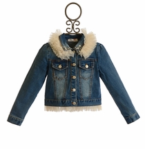 Mae Li Rose Denim Jacket with Tulle Collar for Girls (12-18Mos & 6X)