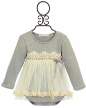 Mae Li Rose Elegant Onsie with Tutu for Girls in Gray (Size 9-12Mos)