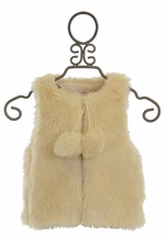 Mae Li Rose Faux Fur Ivory Vest with Pom Poms