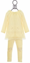 Mae Li Rose Frilly Tunic Set for Girls in Ivory (9-12Mos & 18-24Mos)