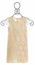 Mae Li Rose Girls Crochet Overlay Dress in Champagne