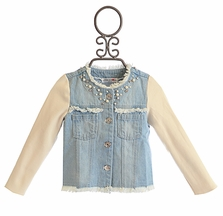 Mae Li Rose Girls Denim Jacket Fancy Pearls (12/18Mos &  7)
