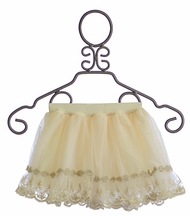 Mae Li Rose Girls Fancy Skirt with Metallic Lace