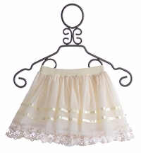 Mae Li Rose Girls Fancy Winter Skirt Ivory Ribbon
