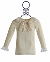 Mae Li Rose Girls Ivory Long Sleeve Top Holiday Lace