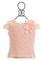 Mae Li Rose Girls Lace Top in Peach (4/5,5/6,7,10)
