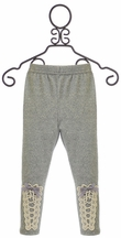 Mae Li Rose Girls Leggings with Lace in Gray (3-6Mos & 6-9Mos)