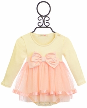 Mae Li Rose Girls Onesie with Bow and Tutu Skirt