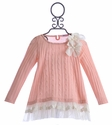 Mae Li Rose Girls Ruffle Lace Top Soft Pink