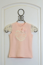 Mae Li Rose Girls Spring Top in Peach