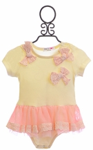 Mae Li Rose Infant Tutu Onesie in Ivory (6-9Mos & 9-12Mos)