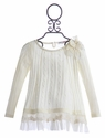 Mae Li Rose Ivory Cable Knit Tunic for Girls Winter Wonderland
