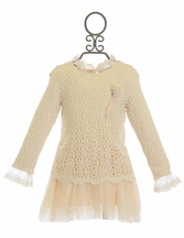Mae Li Rose Ivory Lace Tunic for Girls