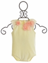 Mae Li Rose Ivory Onesie with Ruffle Flowers for Baby Girls