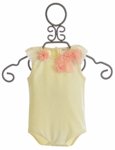 Mae Li Rose Ivory Onesie with Ruffle Flowers for Baby Girls (Size 9/12Mos)