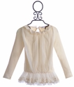 Mae Li Rose Lace Ruffle Top for Girls Ivory Chic