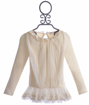 Mae Li Rose Lace Ruffle Top for Girls Ivory Chic (3T & 4)